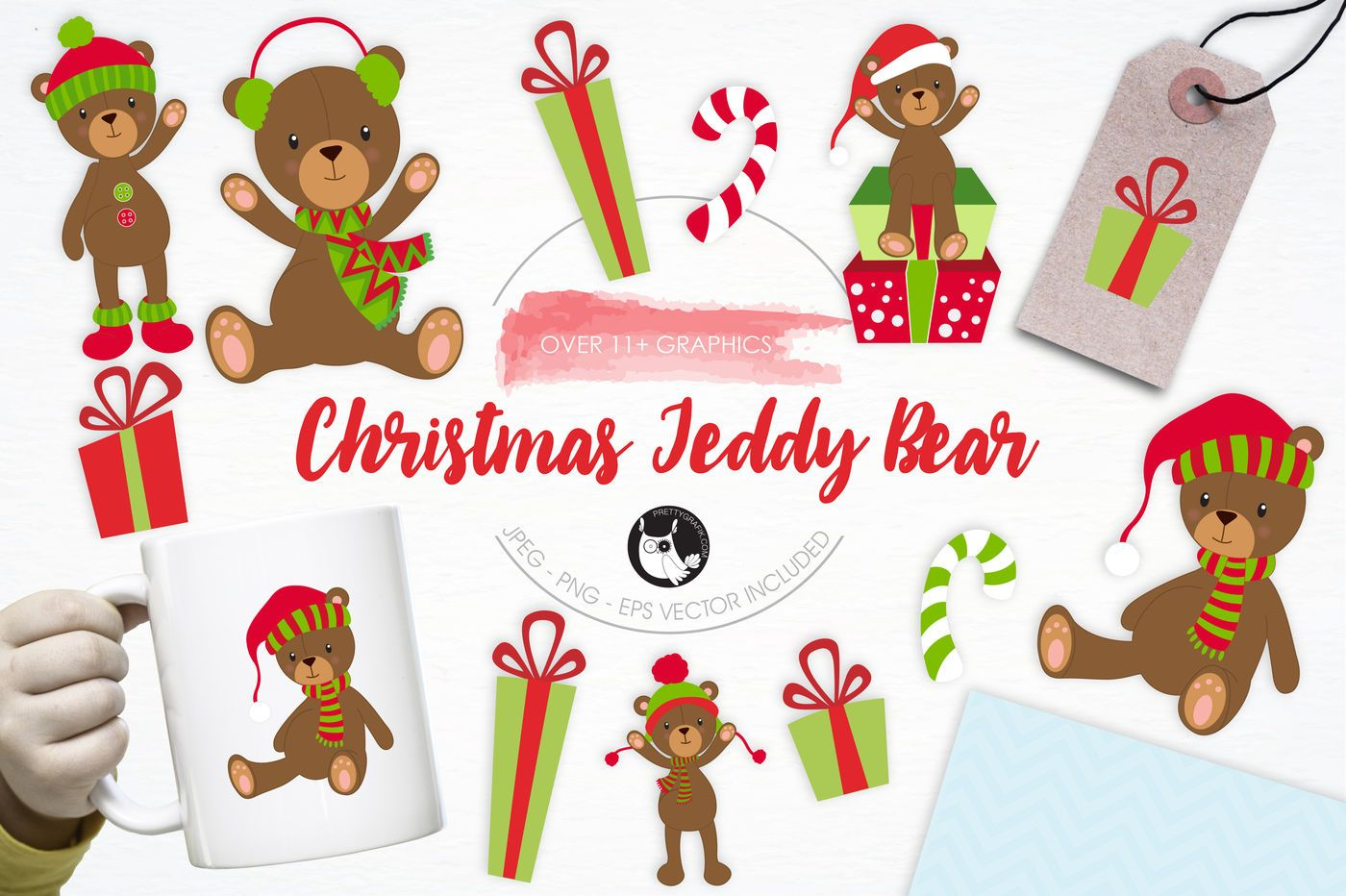 Christmas Teddy Bear Graphics And Illustrations By Prettygrafik Design Thehungryjpeg Com Bear Sponsored Christmas Teddy Bear Christmas Bear Bear Graphic