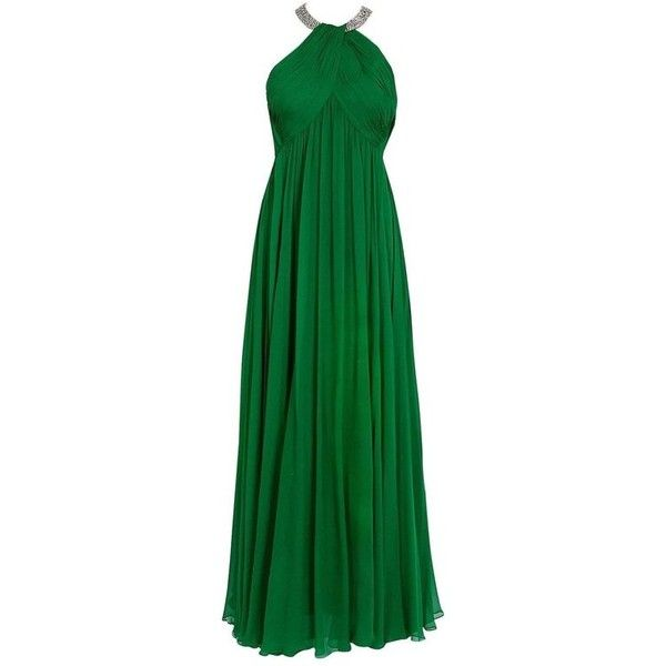 Preowned 1960\'s Malcolm Starr Emerald-green Draped Silk Chiffon ...