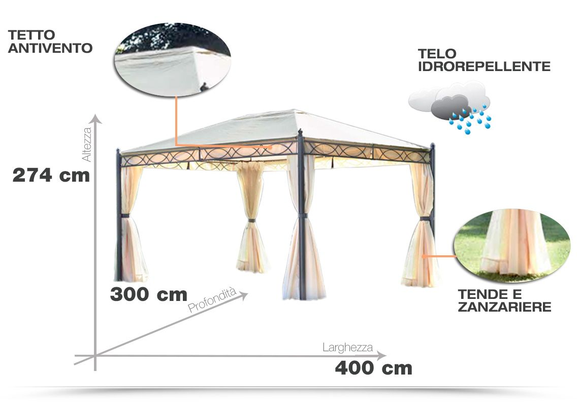 Gazebo Elite 3x4 In Ferro Con Telo Idrorepellente Teli Laterali