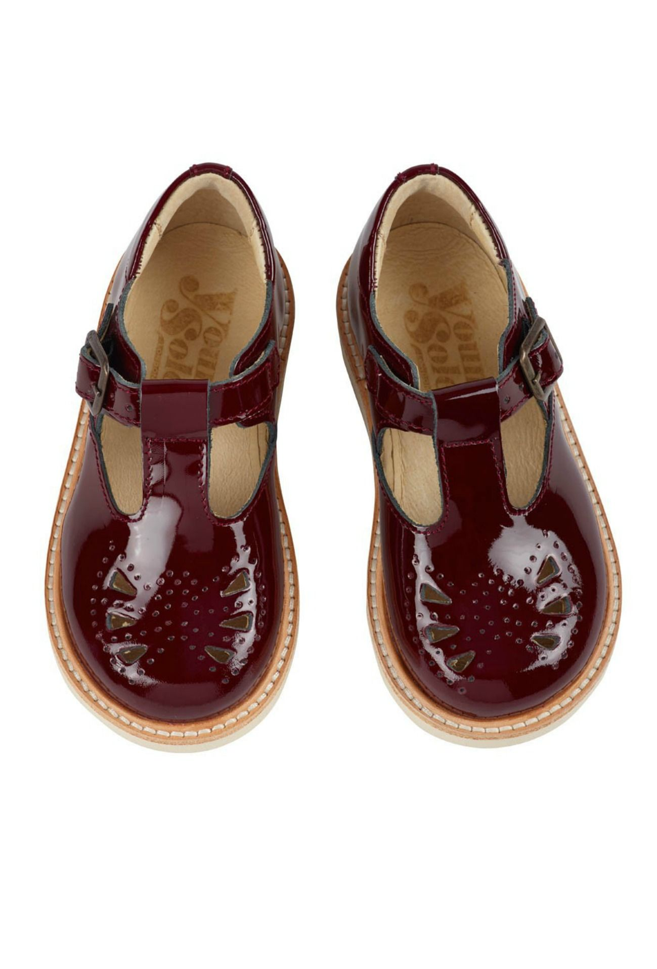 Rosie T Bar Shoes in Bordeaux Young Soles