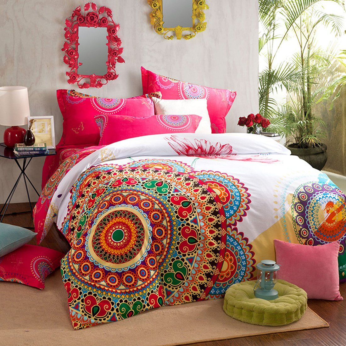 Amazon.com - MBIGM Home Textile, Boho Style Bedding Set, Boho Duvet Cover Set, Bohemian Bedding Set, 4Pcs, Comforter Not Included(King) -