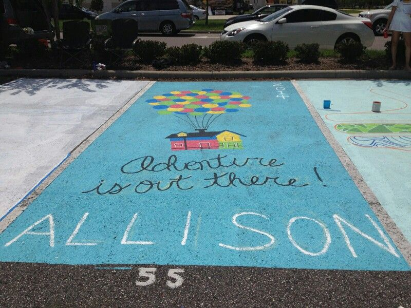 Painted senior parking space – class of 2014! Up movie