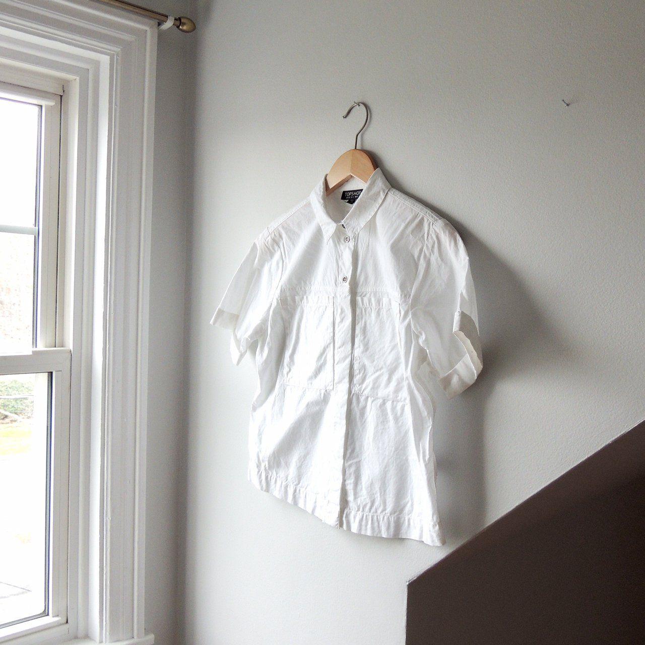 4934f2bb1f0 @lisaloveslions on Depop Top Shop white button-down short sleeve cotton  shirt Size US 4 / UK 8 Classic white cotton button-down with cuffed sleeves  Top 3 ...