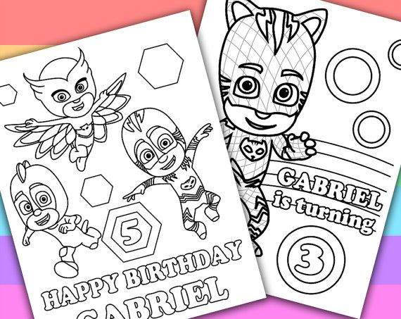 2 Personalized Coloring Pages PJ Masks Animation TV by KimZillu