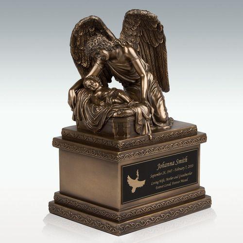 Bronze Angel And Child Cremation Urn - Engravable