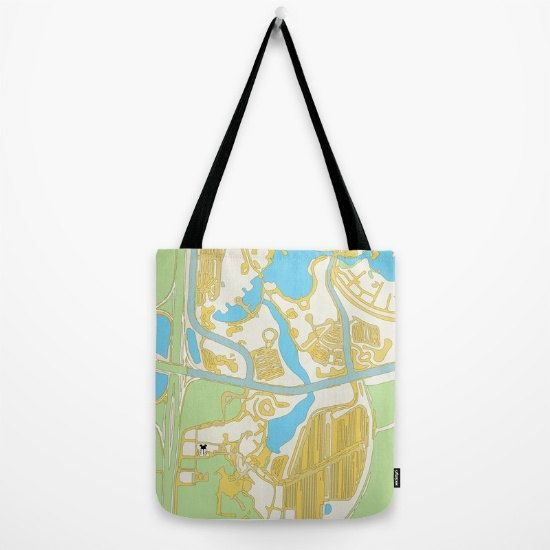 map of disney hollywood studios minimal, mint, blue and yellow.... tote bag by…
