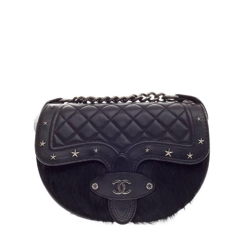 d093ef53ad6f Chanel Limited Edition Dallas Studded Saddle Bag of Quilted Calfskin and Pony  Hair