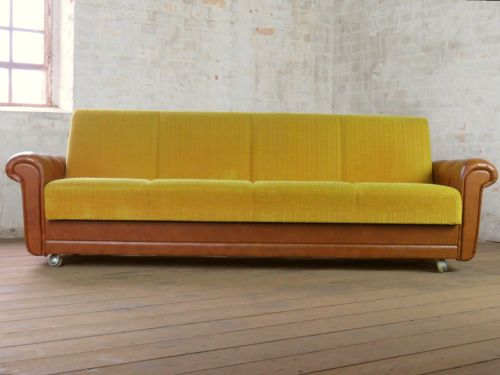 Rockabilly retro 4-Seater club sofa Daybed Chaise-Bed Couch vintage