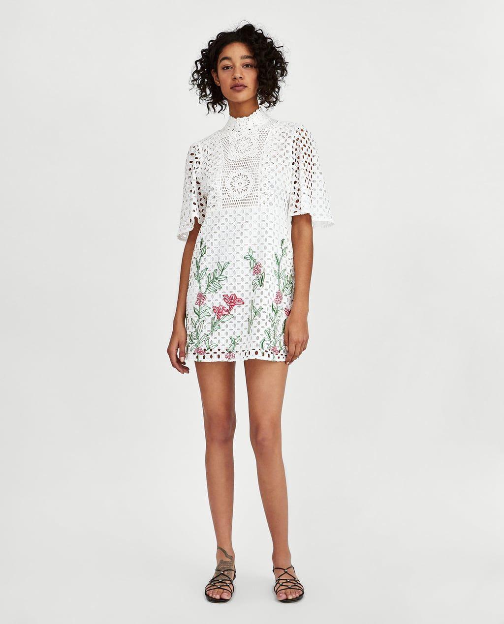 599365d8b1b82 ZARA - WOMAN - EMBROIDERED LACE DRESS Zara Shorts, Short En Jean, Zara  Dresses