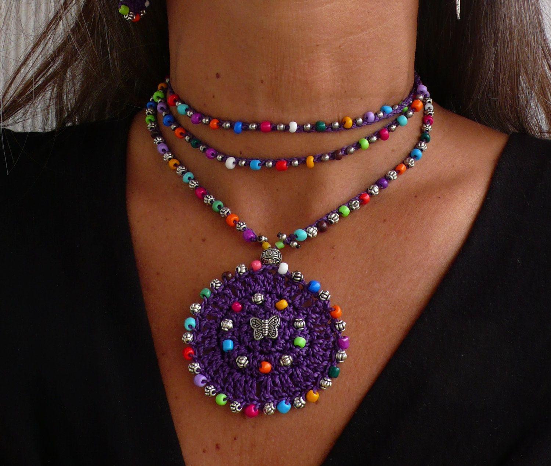 Purple TRIBAL MANDALA crochet NECKLACE butterfly boho necklace ...