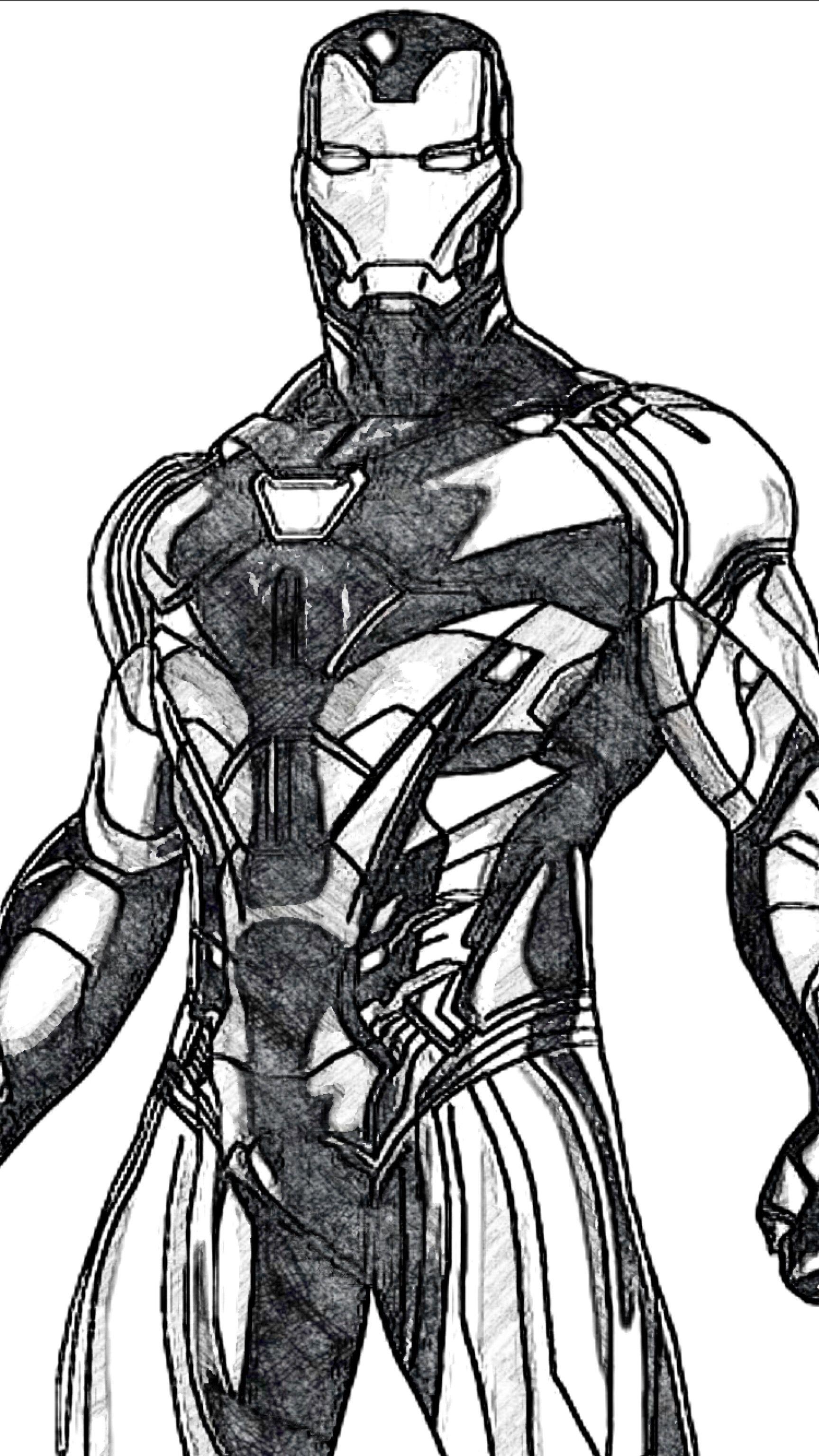 Iron Man Mk85 Black White Combate Dibujos Paginas Para Colorear