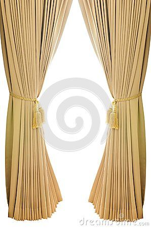 Upscale Drapes Gold Luxury Curtains With Isolated White