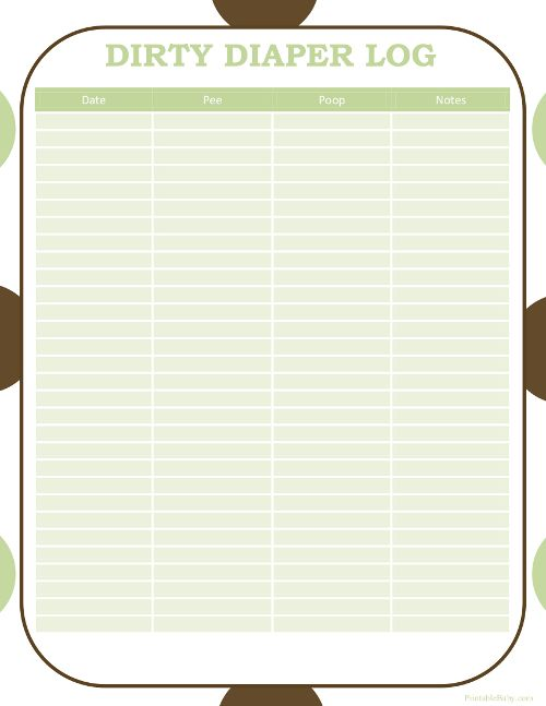 Printable Diaper Log Printable Baby Charts Baby chart, Free