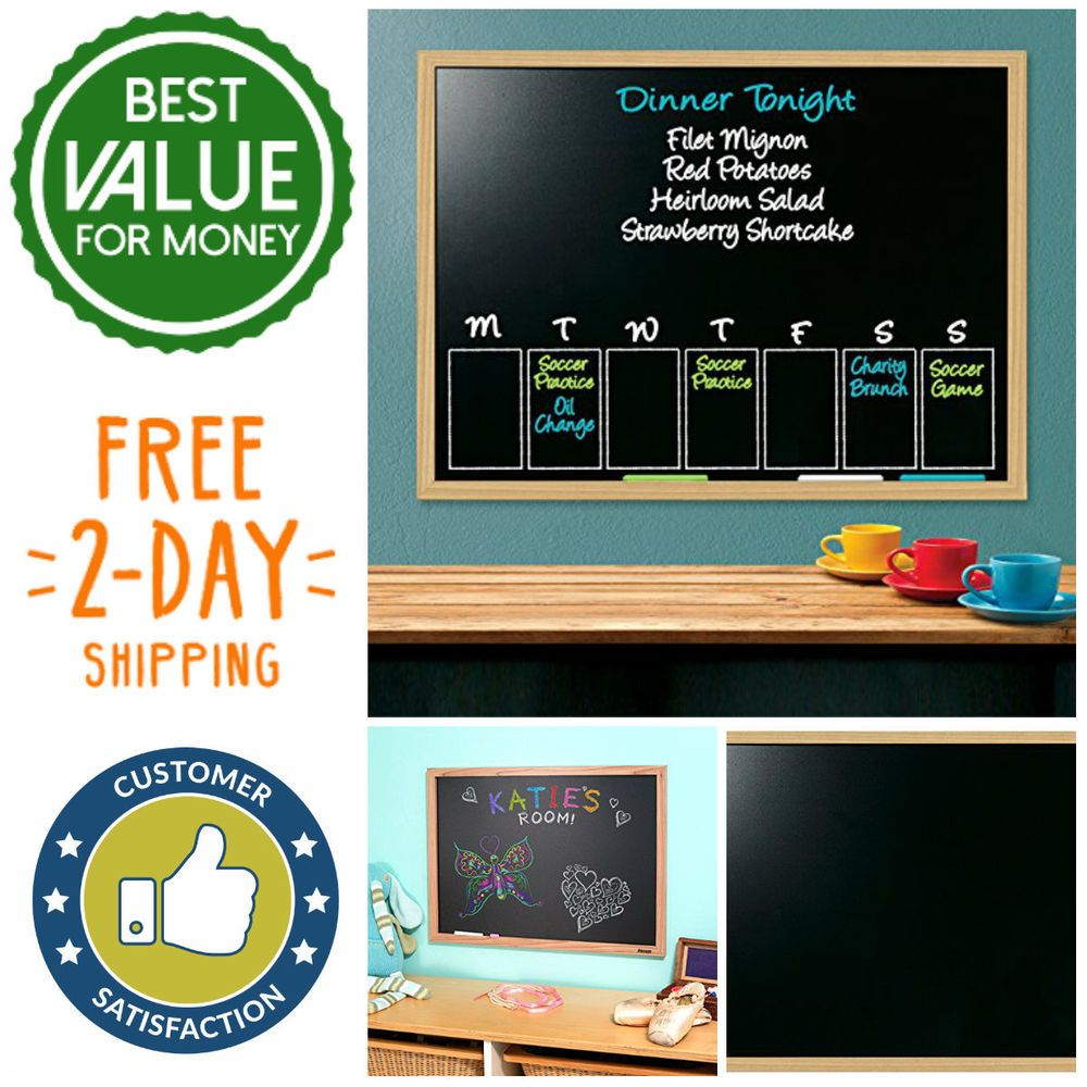 Classic 17 X 23 Chalk Board With Oak Style Frame For Home Ofice