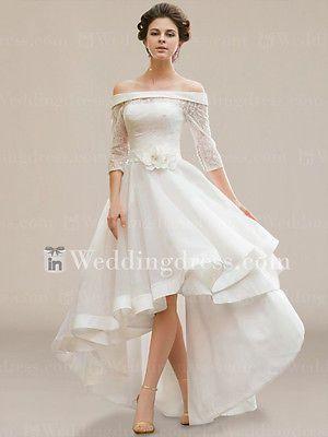 Ivory Hi Lo Plus Size Wedding Dress A Line Half Sleeve Off ...