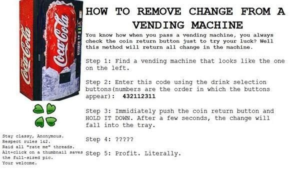How To Get Money Out Of A Vending Machine  Is this illegal??? If not