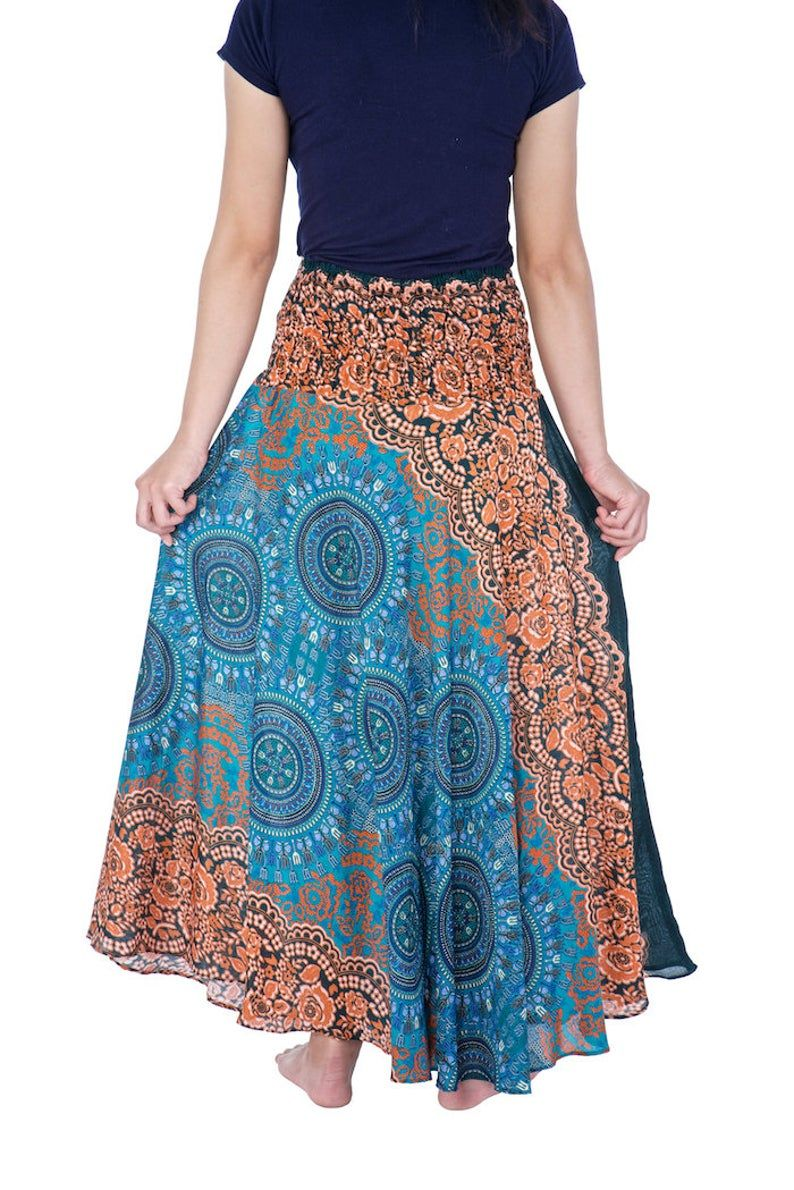 Women's Long Teal Maxi Skirt Bohemian Gypsy Hippie Style | Etsy