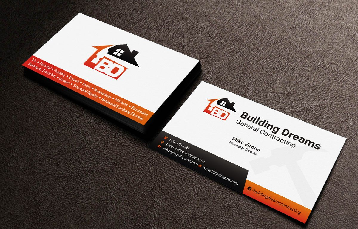 Business card design design 5477772 submitted to building dreams business card design design 5477772 submitted to building dreams general contracting business card closed excellence builders pinterest design colourmoves
