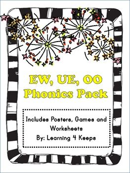 EW, OO, and UE Phonics Pack with posters, worksheets and