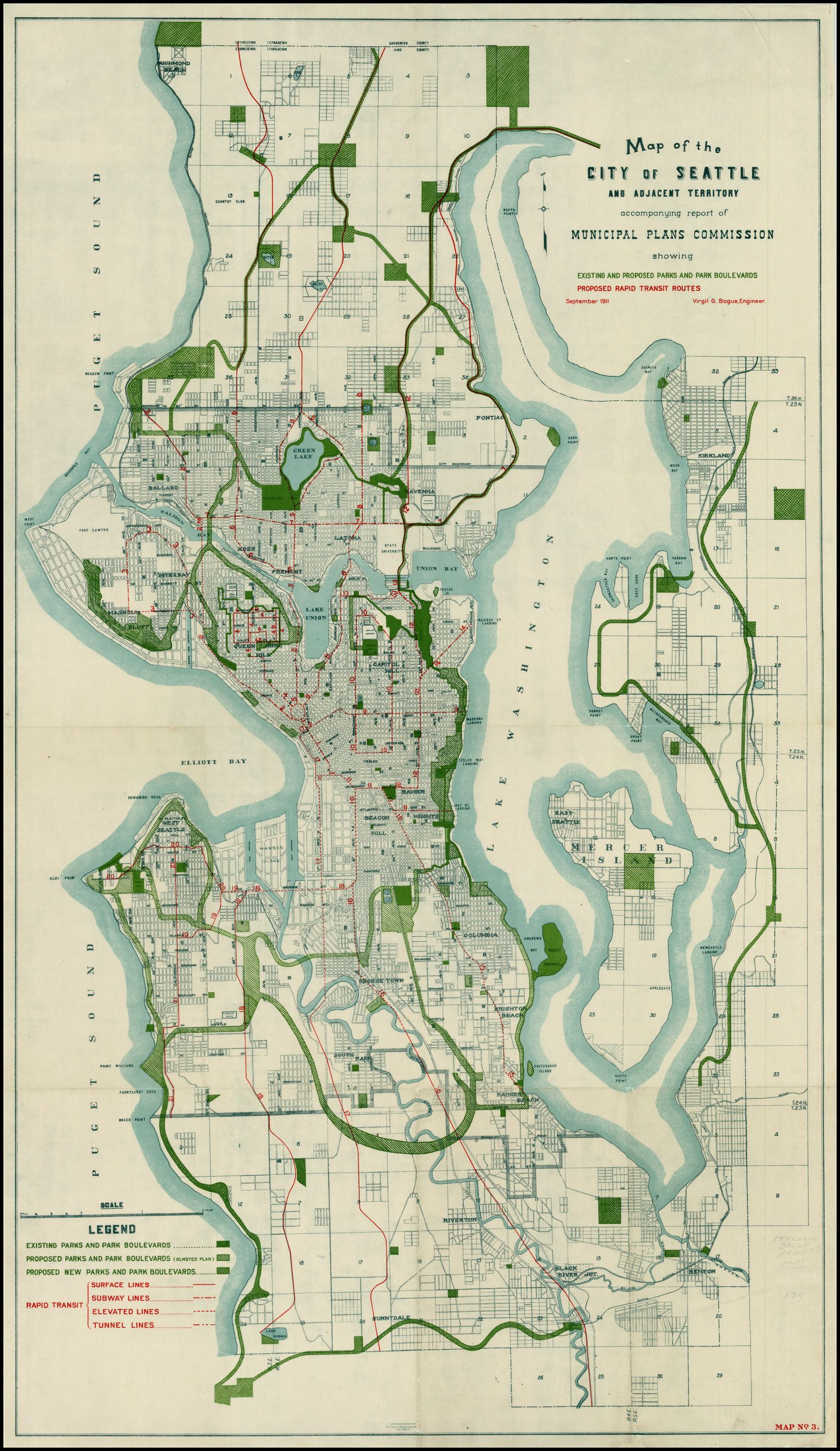 Mta Subway Map Permission Of Usage.1911 Bogue Plan Of Seattle Including Parks And Rapid Transit Map
