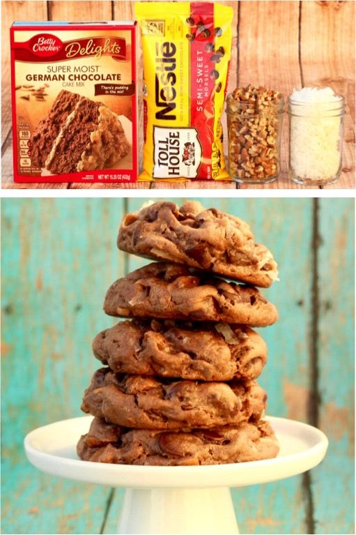 German Chocolate Cake Mix Cookies (Posts by Never Ending Journeys)