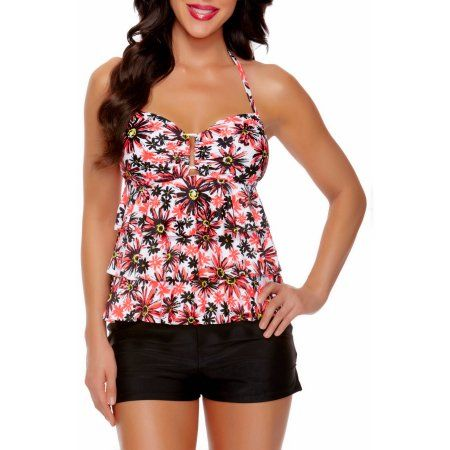 dc159177774 Collections by Catalina Women's Tiered Ruffle Tankini Swimsuit Top, Orange