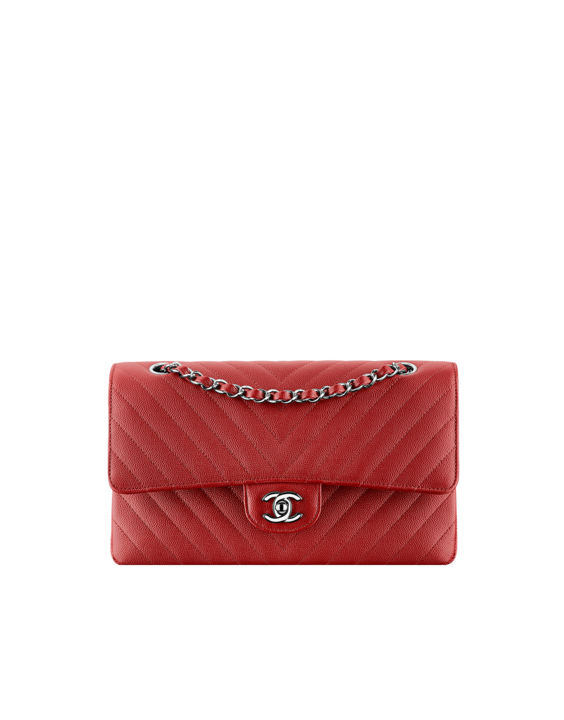fbe1fdf2b6 Chanel Dark Red Chevron Classic Flap Medium Bag SS2017 | Designer ...