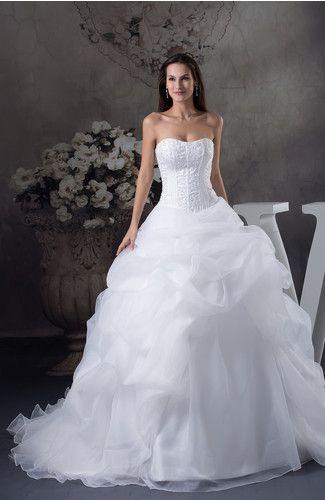 Cinderella Church Ball Gown Sleeveless Zipper Organza Embroidery Bridal Gowns