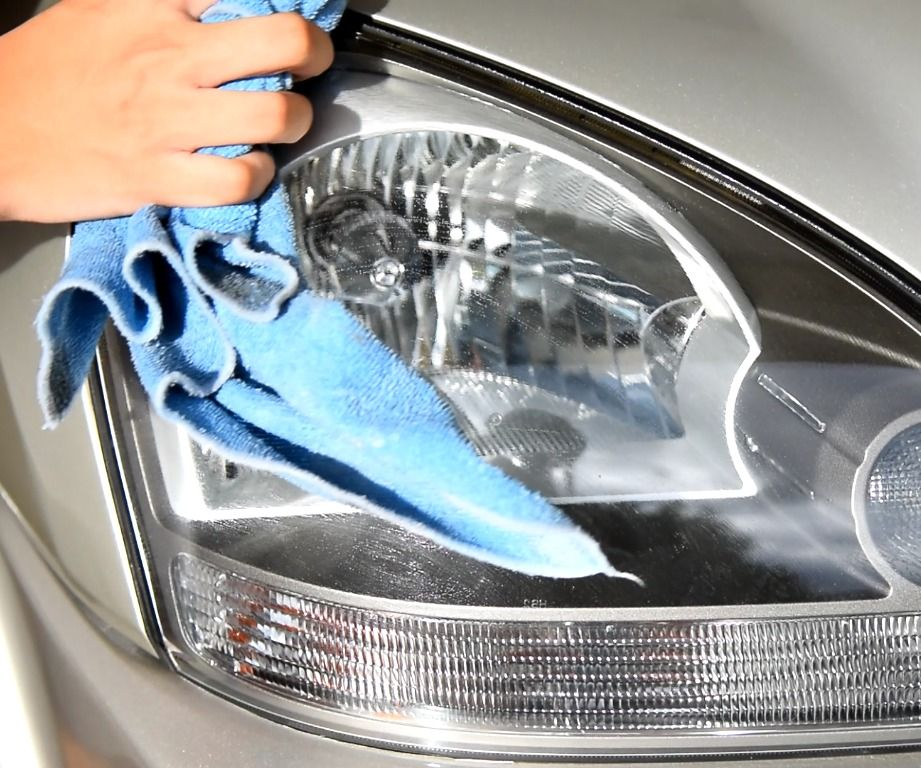 Clean your hazy headlights with toothpaste cleaning