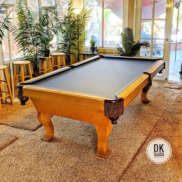 All Done With This Pool Table Academy Blue Felt And New Cushion Rubber Billiards Dkbilliards Playpool Mancave Room Pooltable
