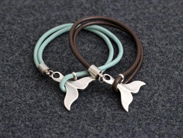 Whale Tail Bracelet Leather Nautical Beach Jewelry