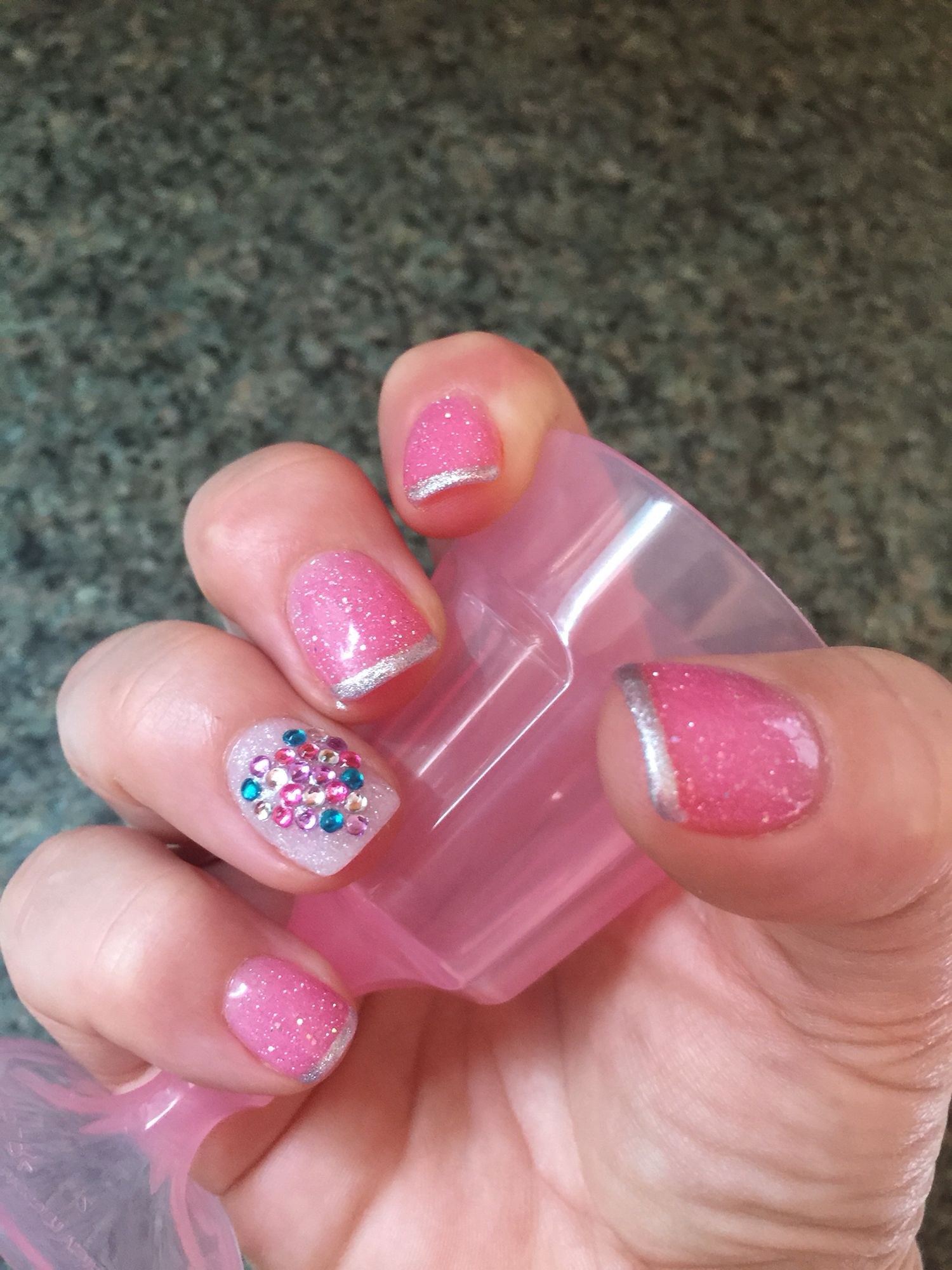 New Next Gen nails pink and white sparkle polish with silver tips ...