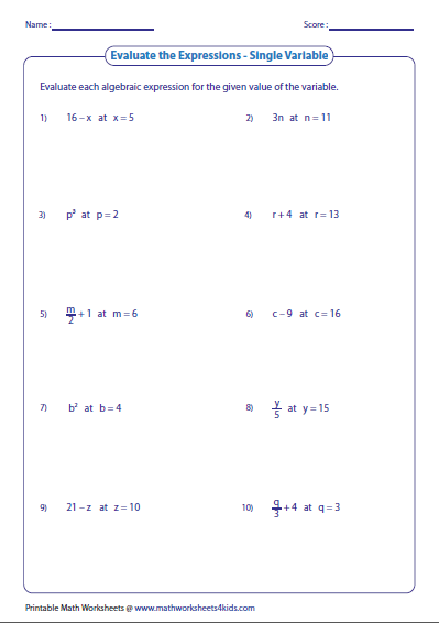Evaluating Algebraic Expression Worksheets Evaluating Expressions Algebraic Expressions Evaluating Algebraic Expressions