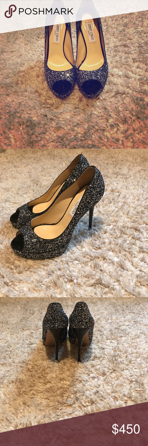 f67a9ca07bf Like new AUTHENTIC JIMMY CHOO black sparkle Black sparkle shoe with shiny black  heel. Hardly