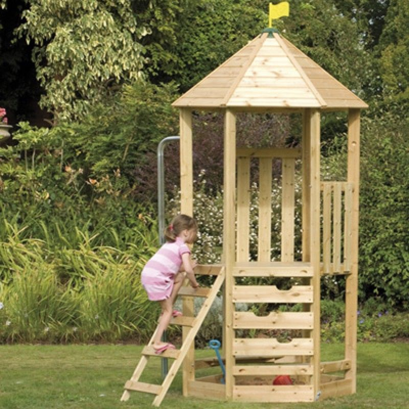 TP Castlewood tower complete with climbing wall and fireman\'s pole ...
