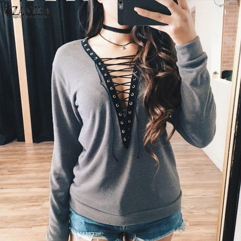 安いZanzea女性ブラウス2017秋セクシーな深いvネックレースアップ中空アウトトップス長袖シャツカジュアル緩いblusas femininas、購入品質ブラウス & シャツ、直接中国のサプライヤーから:  ZANZEA Fashion Women Blouses 2016 Autumn Long Sleeve Irregular Hem Cotton Shirts Casual Loose Blusas Tops Plus Size S-