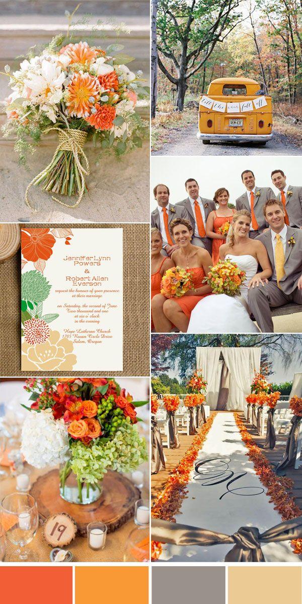 Five Beautiful Wedding Colors In Shades Of Grey Elegantweddinginvites Com Blog Orange Wedding Themes Wedding Colors Yellow Wedding Colors