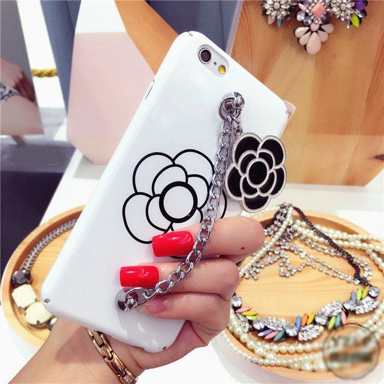 2908 chanel camellia chain silicone cases for iphone 7