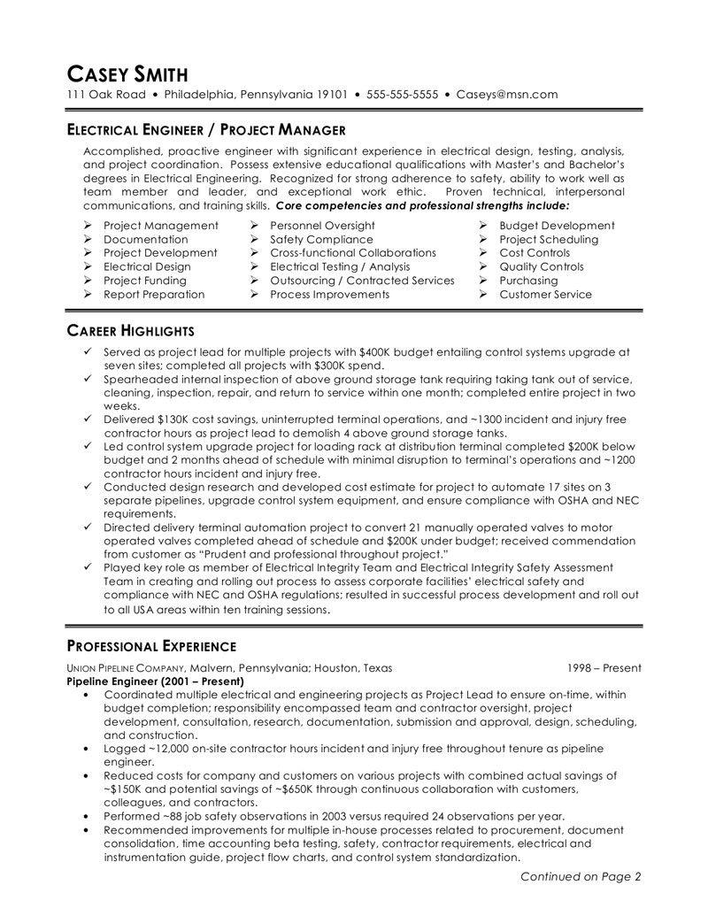 resume undergraduate electrical engineering