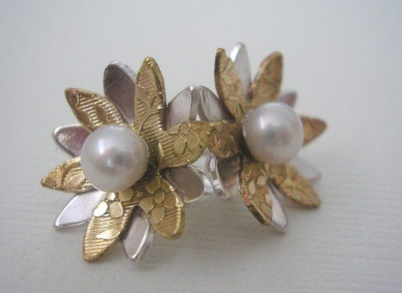 Two  toned Flower Studs by megangillis on Etsy, $40.00