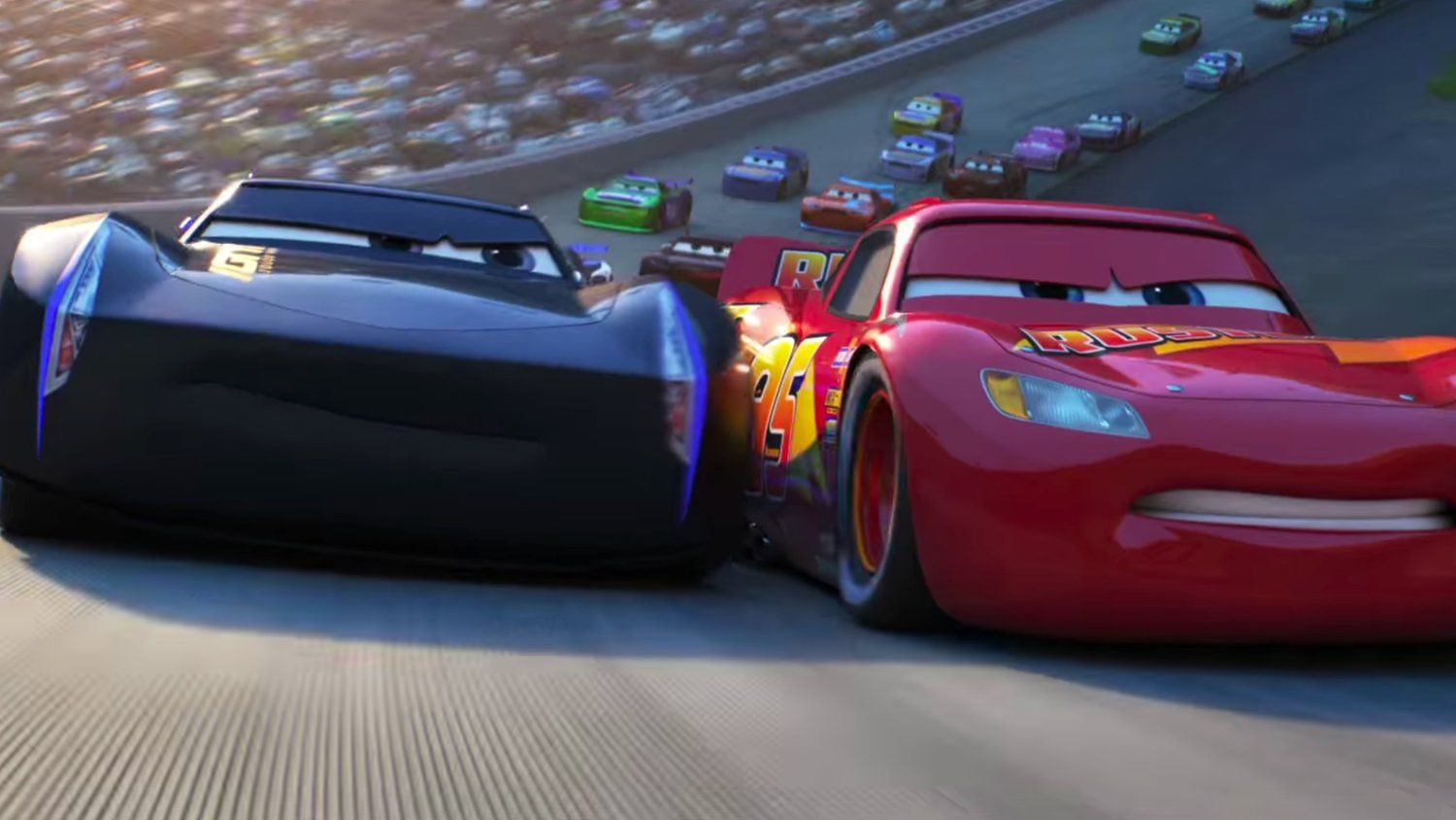 lightening mcqueen vs jackson storm in new cars 3 rivalry trailer disney everything. Black Bedroom Furniture Sets. Home Design Ideas