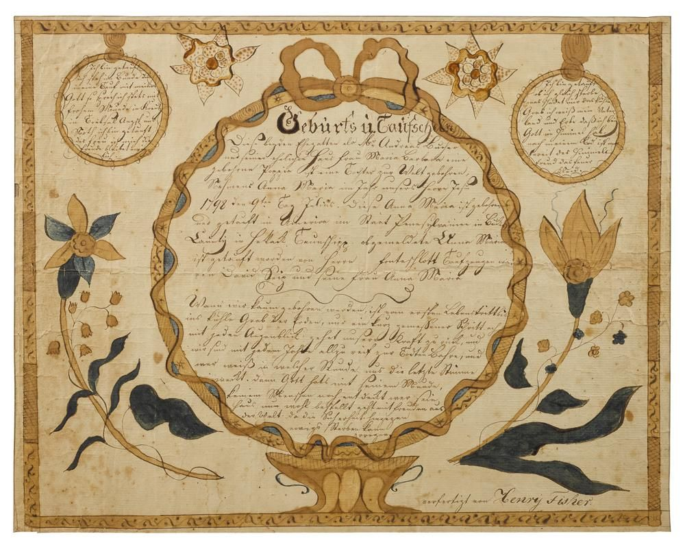 Bucks county pennsylvania ink and watercolor fraktur birth bucks county pennsylvania ink and watercolor fraktur birth certificate ca 1800 price aiddatafo Image collections