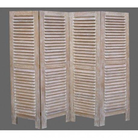 Paravent 4 volets en bois cérusé    wwwdeco-prive meubles