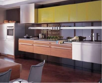 Suspended Kitchen Cabinets For A Sleek Look Like The Shot Of Color On Upper