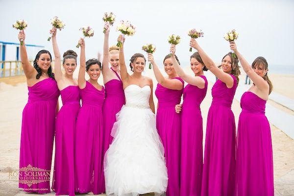 05c2ca490dd Hot Pink Bridal Party Beach Wedding  Sands Atlantic Beach