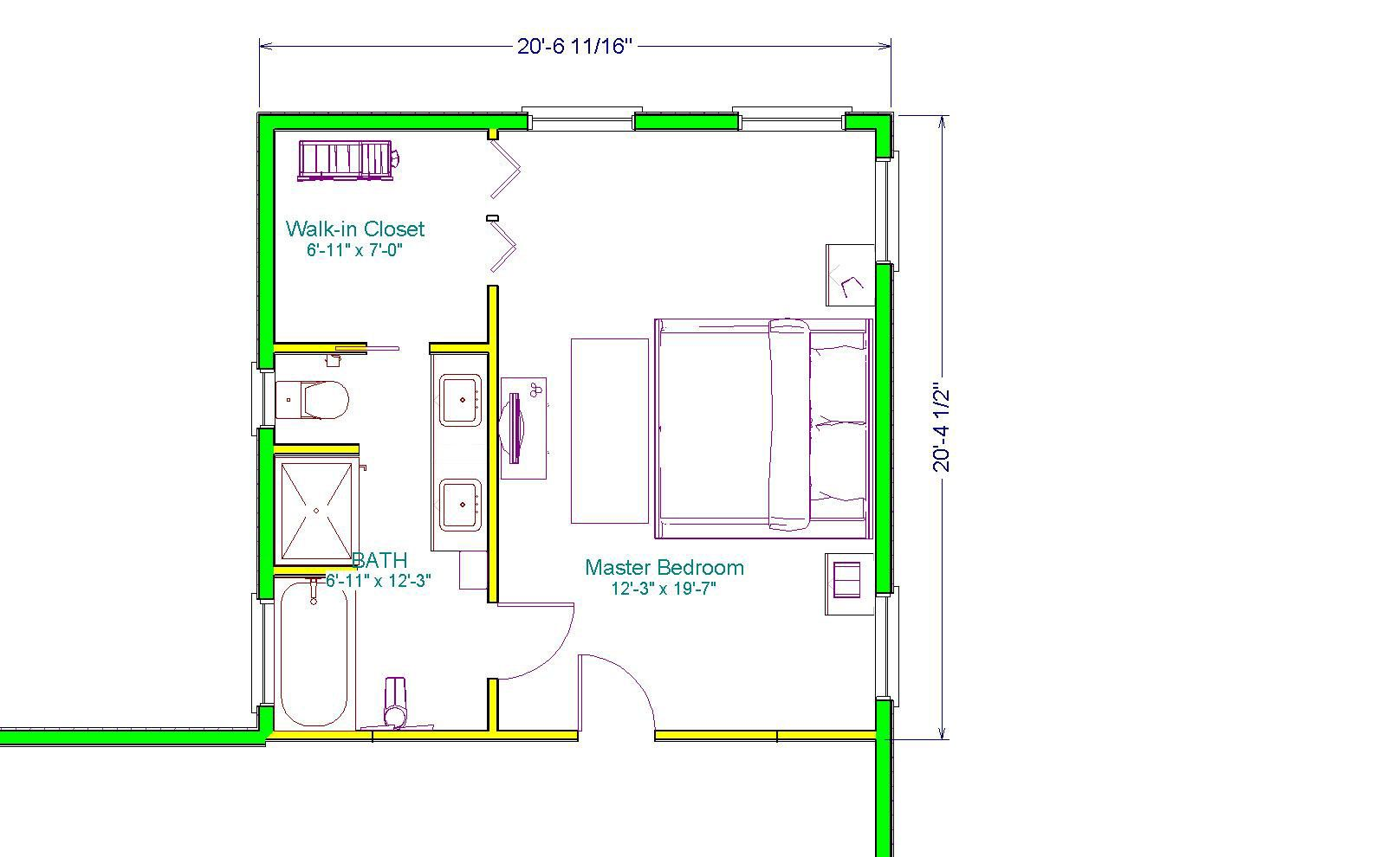 Master suite plans with dimensions out master suite addition this 20 x 20 master suite Master bedroom addition plans