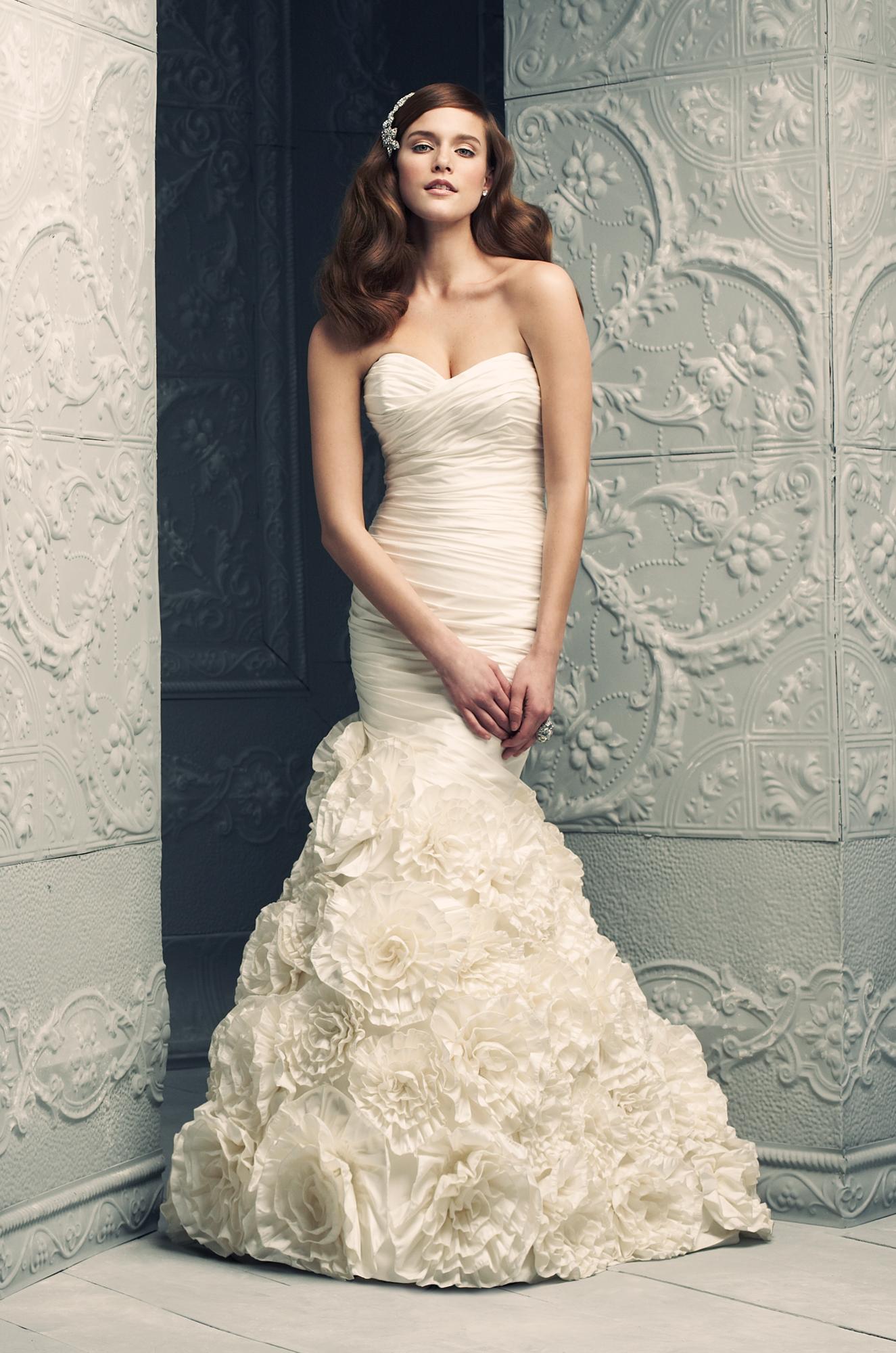 Silk Dupioni wedding dress. Strapless cross over ruched tunic bodice ...