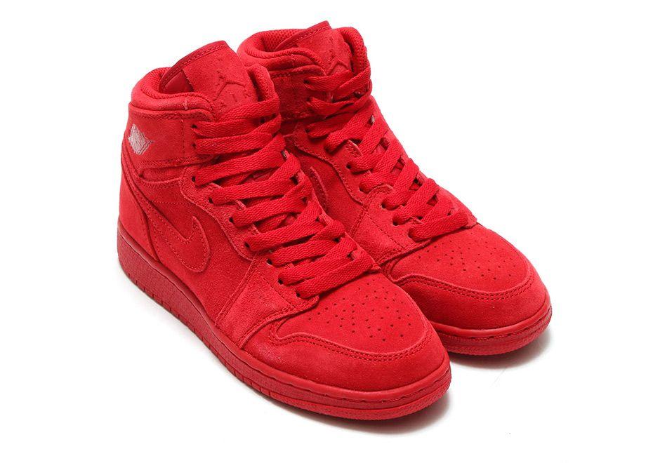 air jordan retro 1 red suede heels
