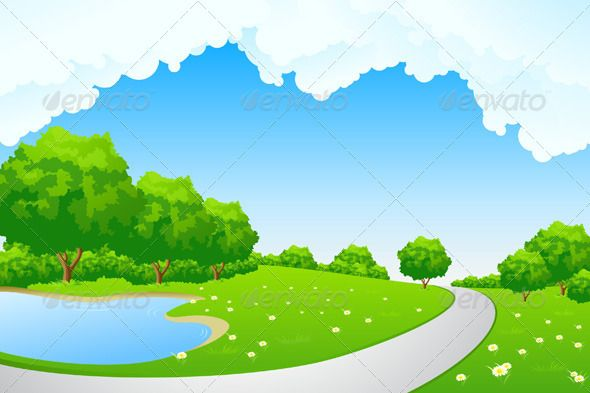 Landscape Green Park With Lake And Path Landscape Landscape Background Green Park