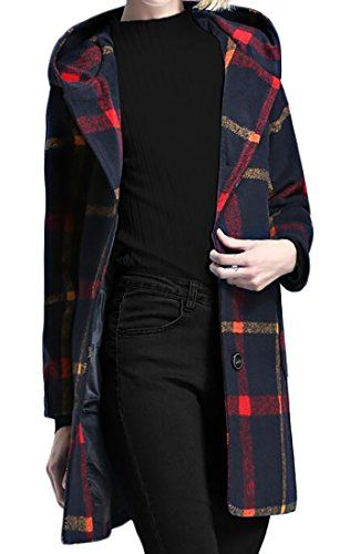 Ptyhk RG Womens Wool Blend Coat Plaid Single Breasted